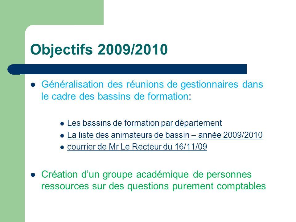 Objectifs 2009/2010 Généralisation des réunions de gestionnaires dans le cadre des bassins de formation: