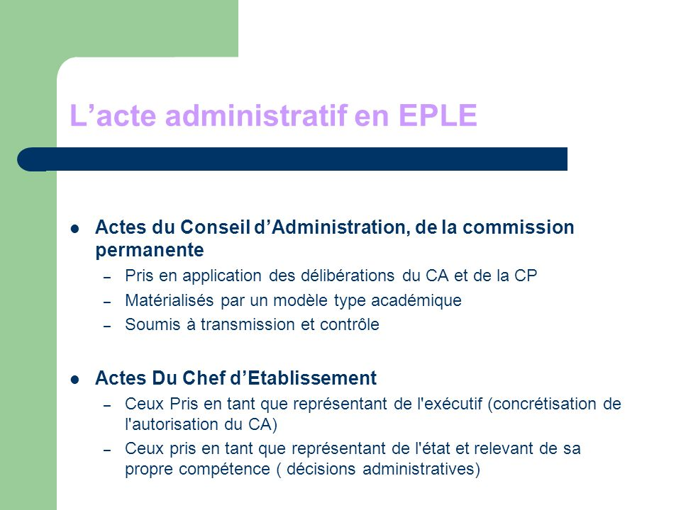 L'acte administratif en EPLE