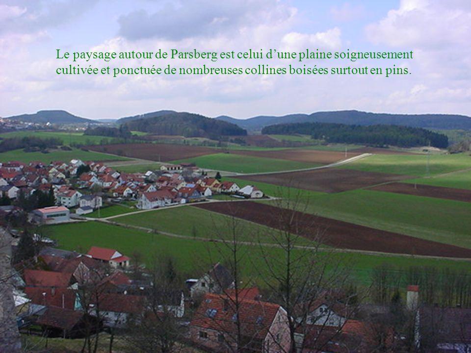 Le paysage autour de Parsberg est celui d'une plaine soigneusement cultivée et ponctuée de nombreuses collines boisées surtout en pins.