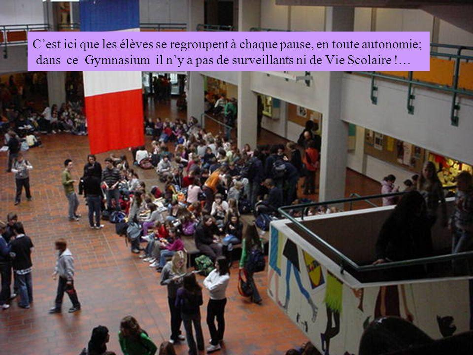 C'est ici que les élèves se regroupent à chaque pause, en toute autonomie; dans ce Gymnasium il n'y a pas de surveillants ni de Vie Scolaire !…