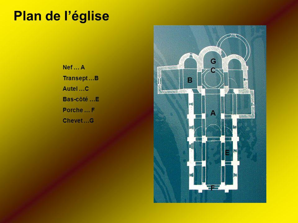 Plan de l'église G C B A E F Nef … A Transept …B Autel …C Bas-côté …E