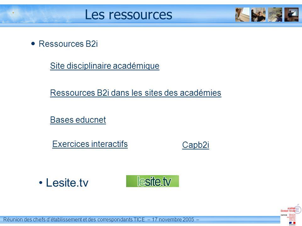 Les ressources Lesite.tv Ressources B2i Site disciplinaire académique