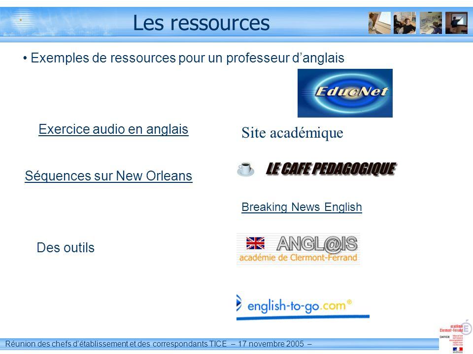 Les ressources Site académique