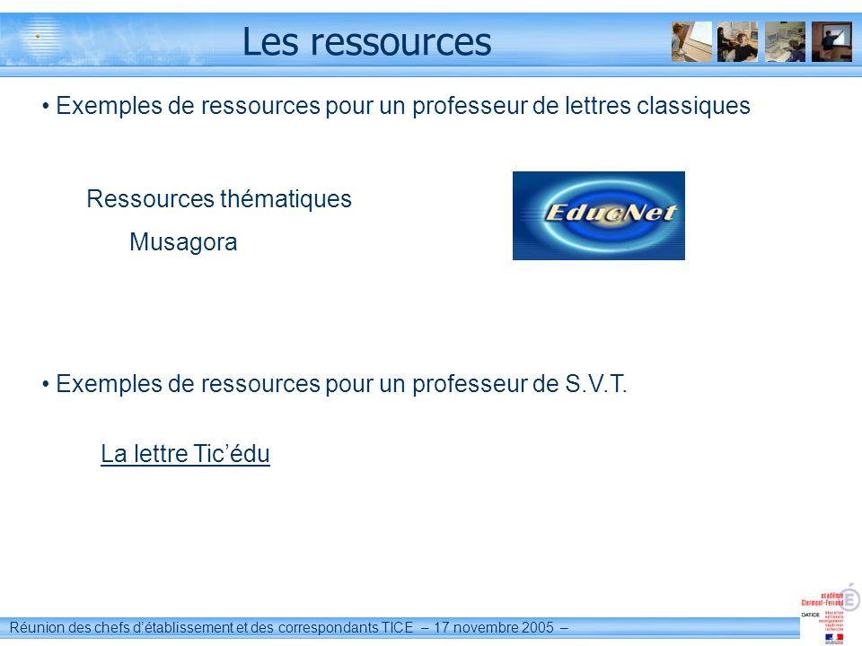 Les ressources Exemples de ressources pour un professeur de lettres classiques. Ressources thématiques.