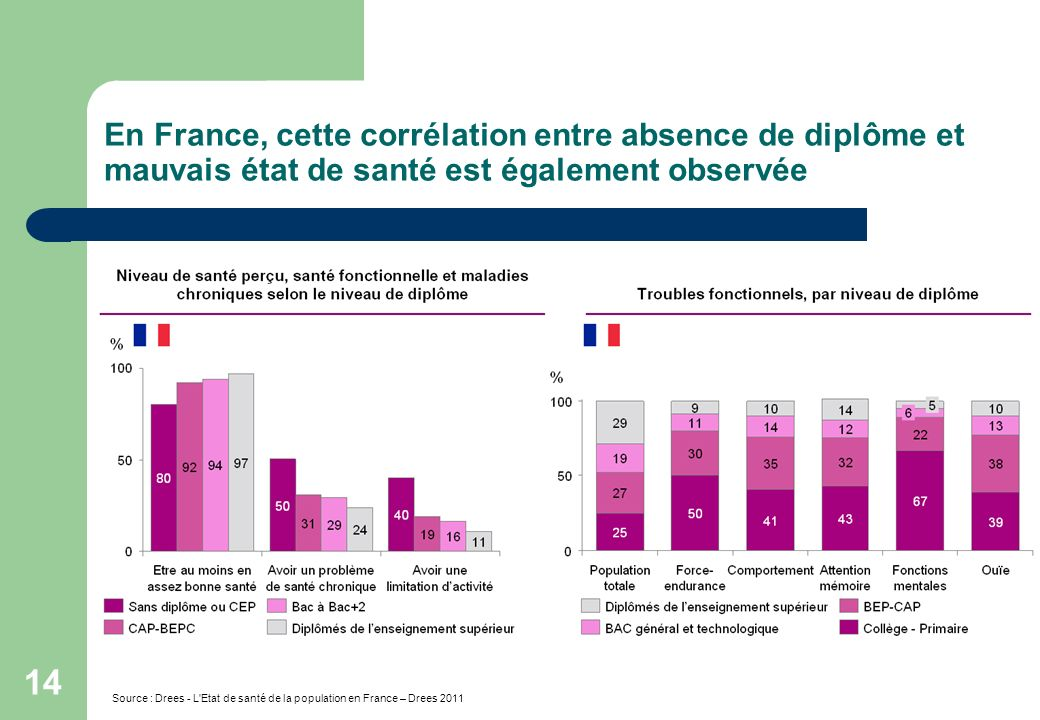 En France, cette corrélation entre absence de diplôme et mauvais état de santé est également observée