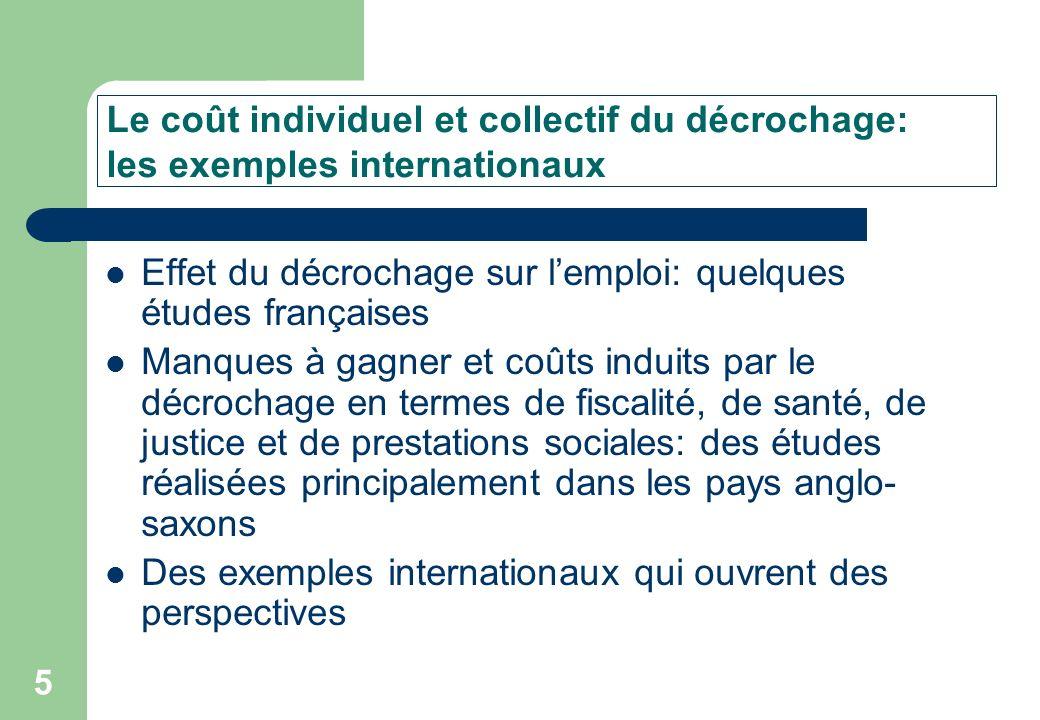 Le coût individuel et collectif du décrochage: