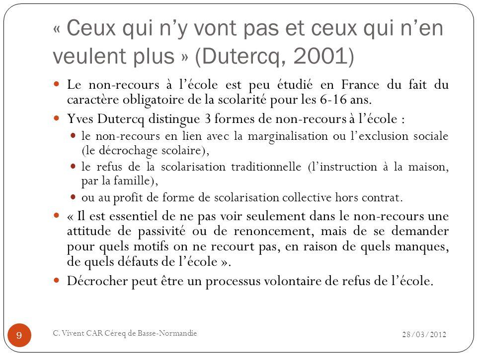 « Ceux qui n'y vont pas et ceux qui n'en veulent plus » (Dutercq, 2001)