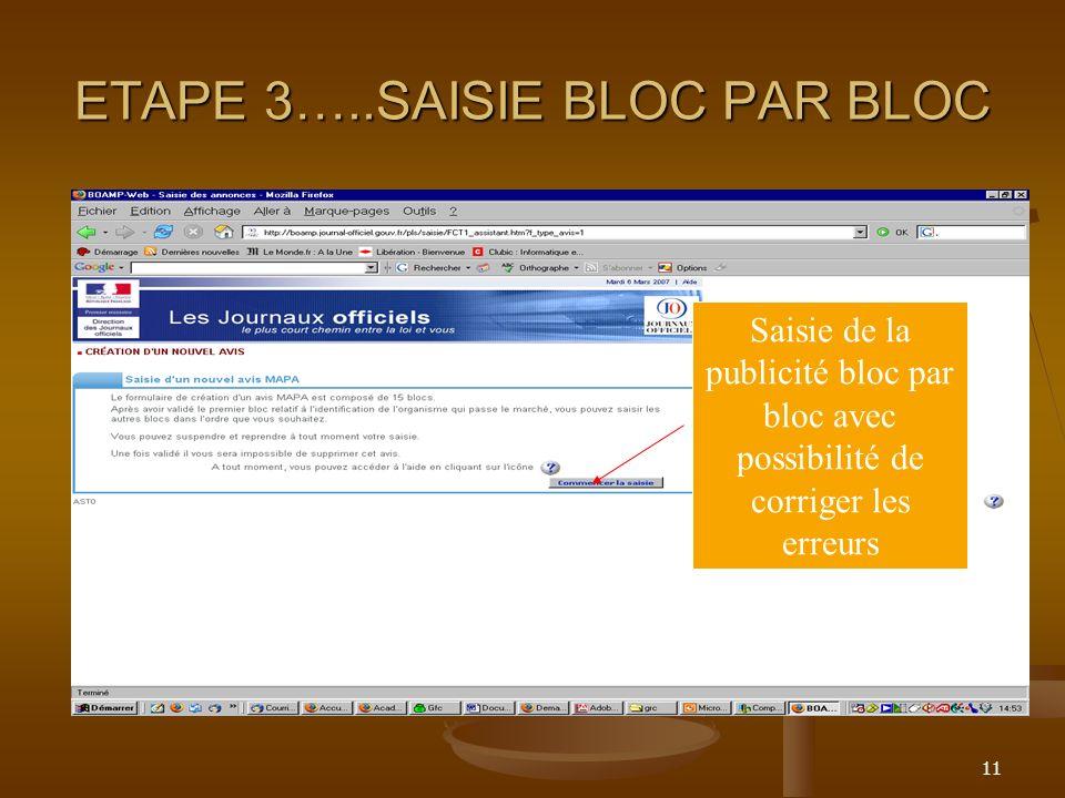 ETAPE 3…..SAISIE BLOC PAR BLOC