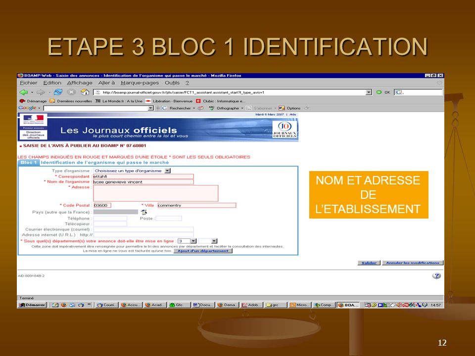 ETAPE 3 BLOC 1 IDENTIFICATION