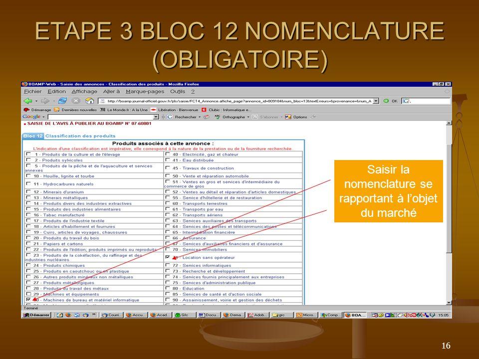 ETAPE 3 BLOC 12 NOMENCLATURE (OBLIGATOIRE)