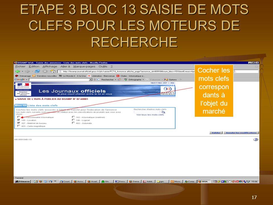 ETAPE 3 BLOC 13 SAISIE DE MOTS CLEFS POUR LES MOTEURS DE RECHERCHE