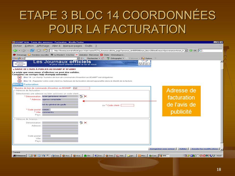 ETAPE 3 BLOC 14 COORDONNÉES POUR LA FACTURATION