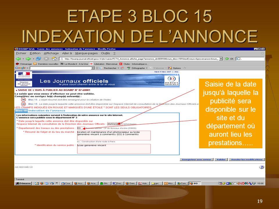 ETAPE 3 BLOC 15 INDEXATION DE L'ANNONCE