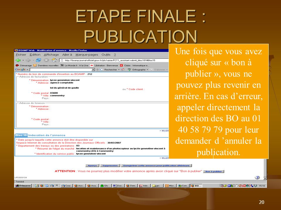 ETAPE FINALE : PUBLICATION