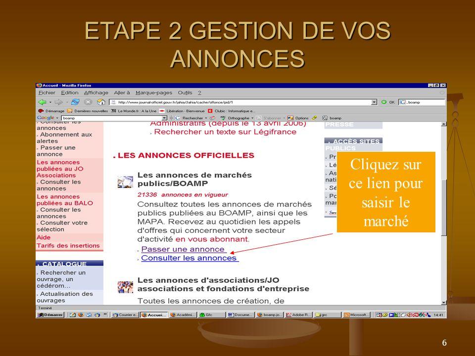 ETAPE 2 GESTION DE VOS ANNONCES
