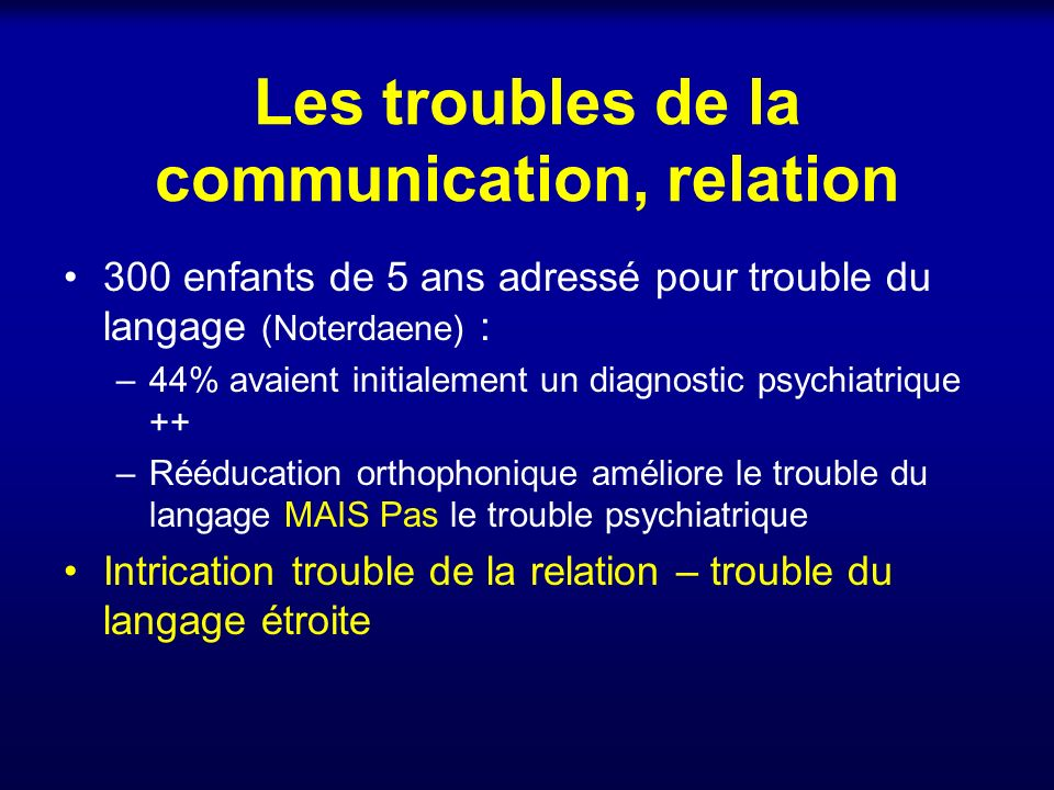 Les troubles de la communication, relation
