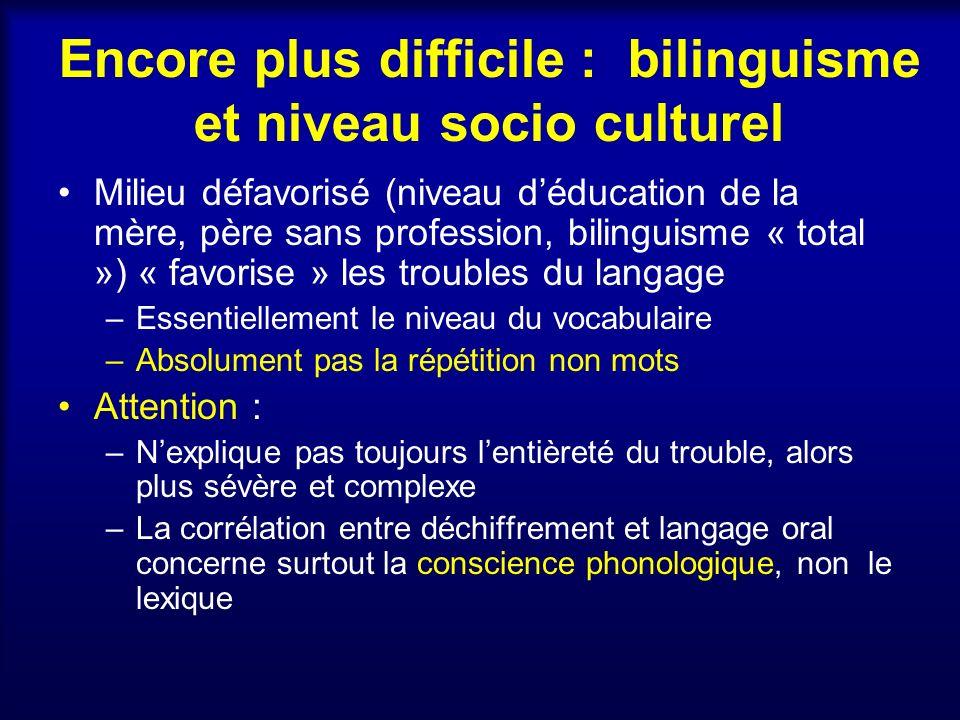 Encore plus difficile : bilinguisme et niveau socio culturel