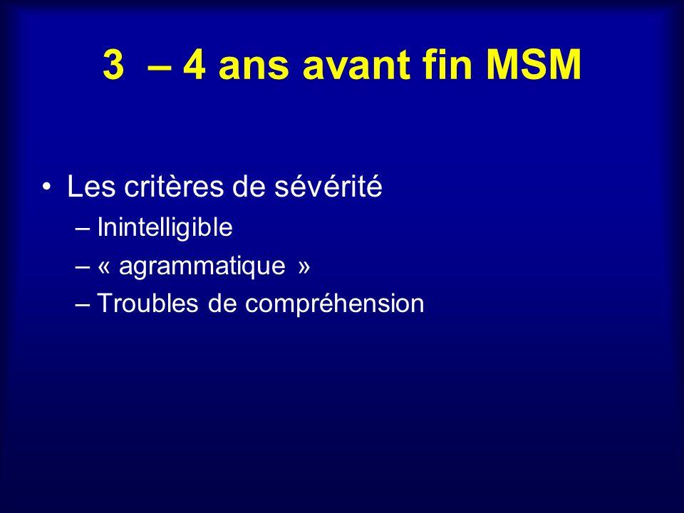 3 – 4 ans avant fin MSM Les critères de sévérité Inintelligible