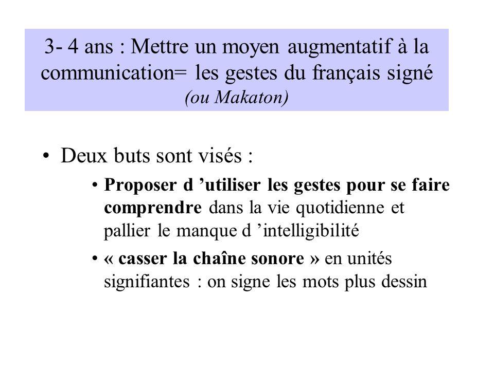 3- 4 ans : Mettre un moyen augmentatif à la communication= les gestes du français signé (ou Makaton)