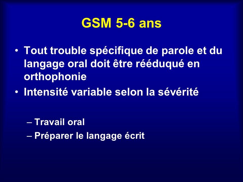 GSM 5-6 ans Tout trouble spécifique de parole et du langage oral doit être rééduqué en orthophonie.