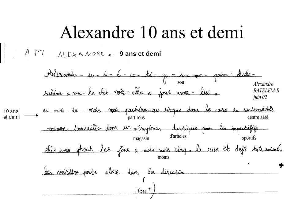 Alexandre 10 ans et demi 9 ans et demi : 10 ans et demi