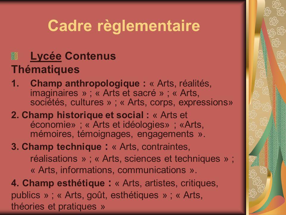 Cadre règlementaire Lycée Contenus Thématiques