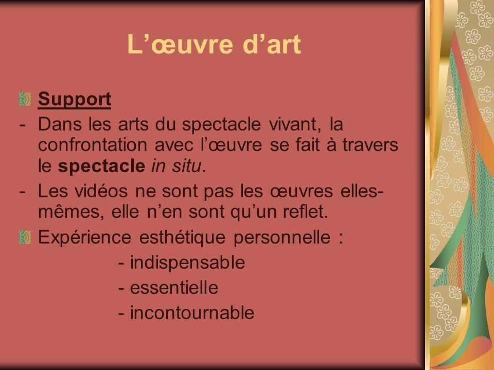 L'œuvre d'art Support. Dans les arts du spectacle vivant, la confrontation avec l'œuvre se fait à travers le spectacle in situ.