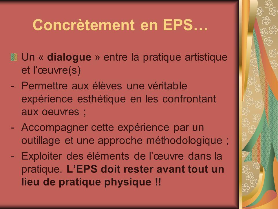 Concrètement en EPS… Un « dialogue » entre la pratique artistique et l'œuvre(s)