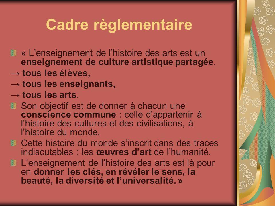 Cadre règlementaire « L'enseignement de l'histoire des arts est un enseignement de culture artistique partagée.