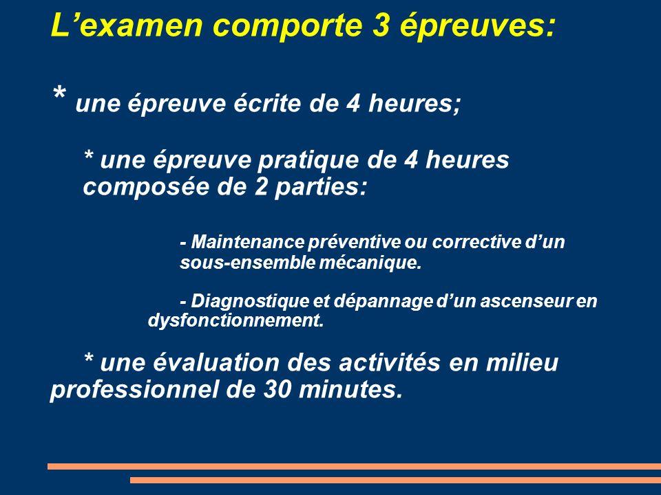 L'examen comporte 3 épreuves:. une épreuve écrite de 4 heures;