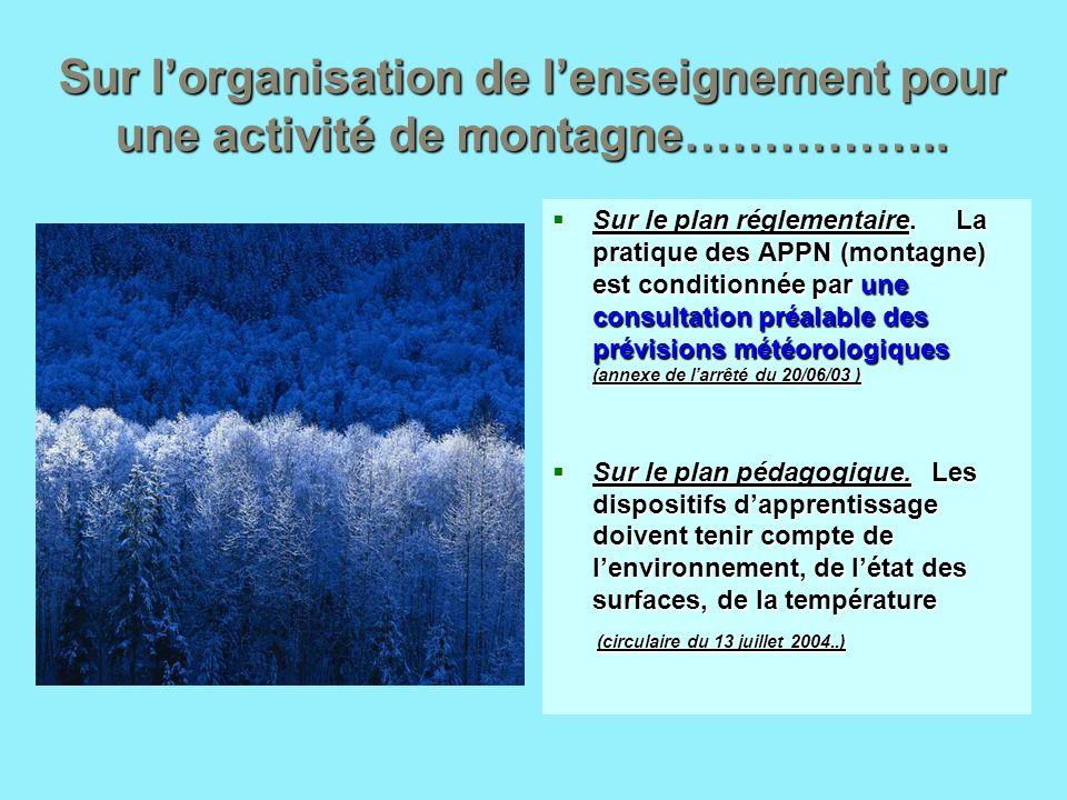 Sur l'organisation de l'enseignement pour une activité de montagne……………..