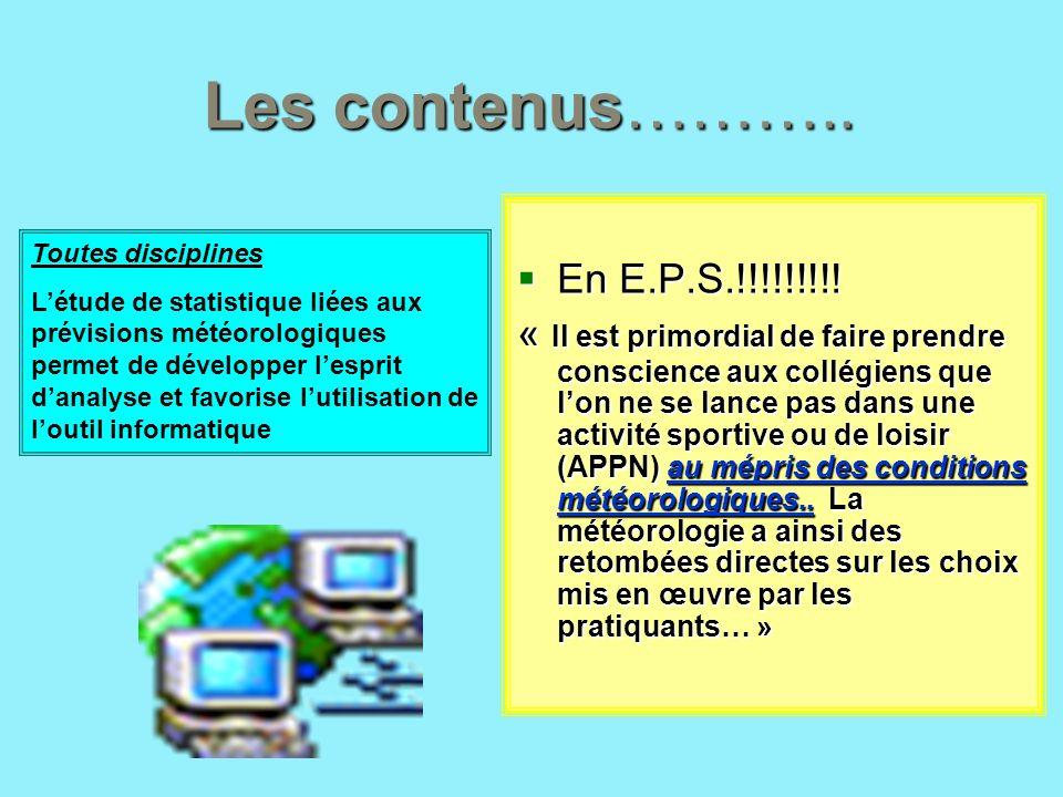Les contenus………..En E.P.S.!!!!!!!!!