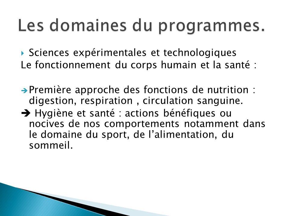 Les domaines du programmes.