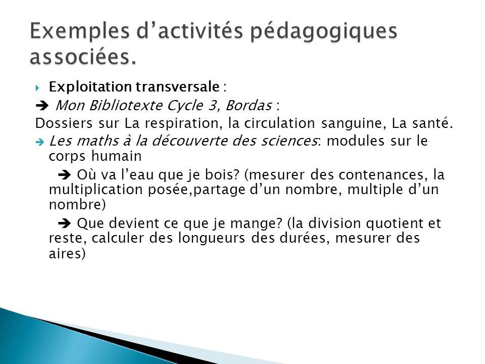 Exemples d'activités pédagogiques associées.