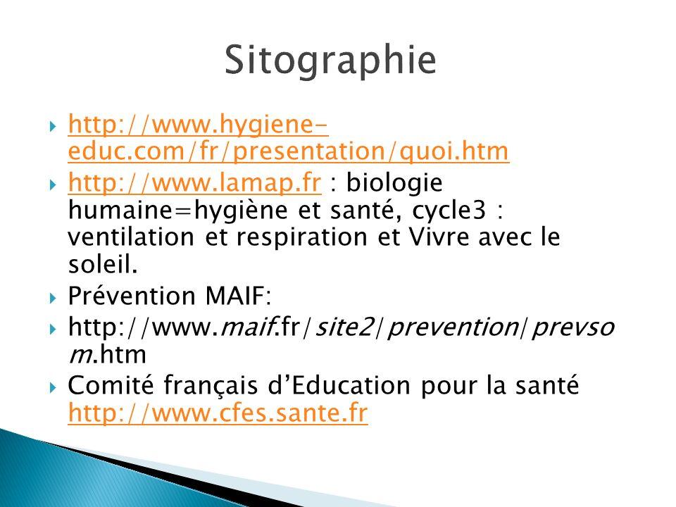 Sitographie http://www.hygiene- educ.com/fr/presentation/quoi.htm
