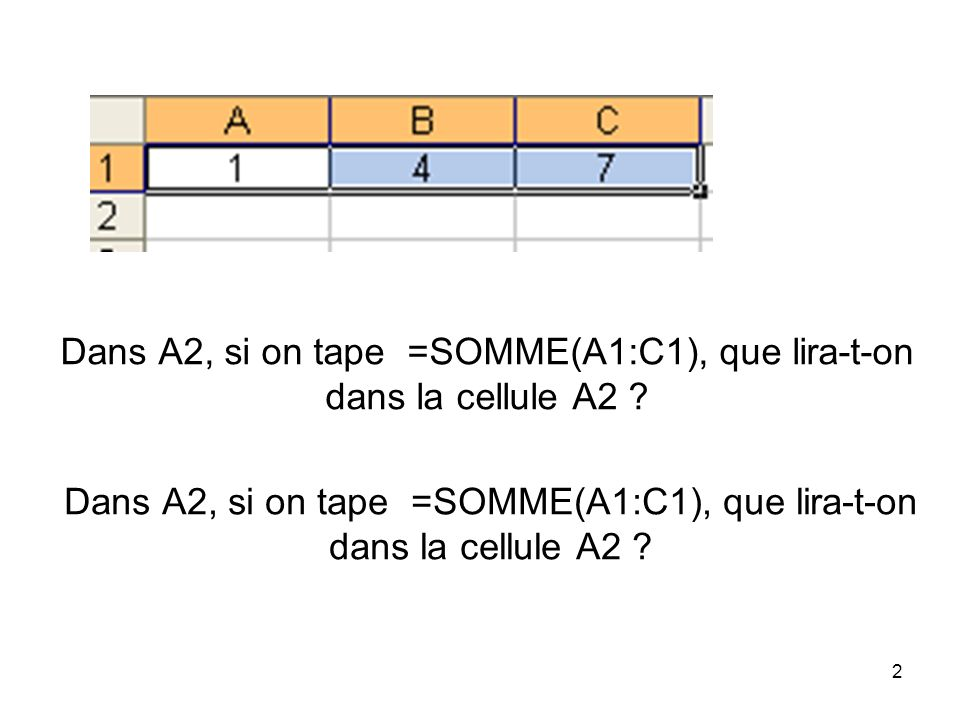Dans A2, si on tape =SOMME(A1:C1), que lira-t-on dans la cellule A2
