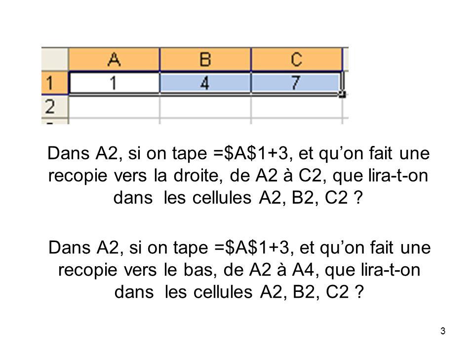 Dans A2, si on tape =$A$1+3, et qu'on fait une recopie vers la droite, de A2 à C2, que lira-t-on dans les cellules A2, B2, C2