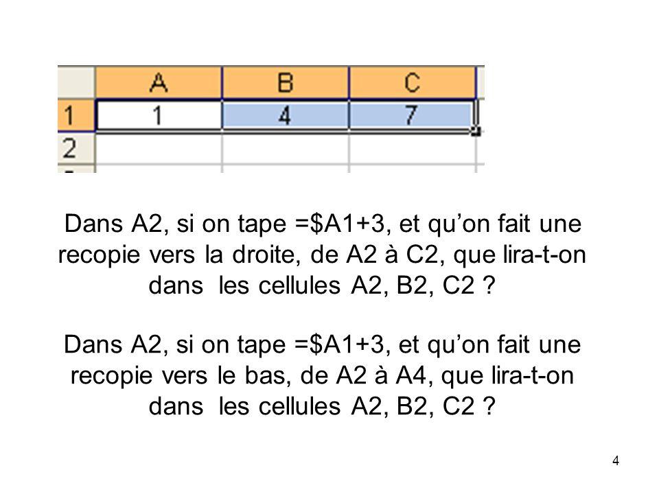 Dans A2, si on tape =$A1+3, et qu'on fait une recopie vers la droite, de A2 à C2, que lira-t-on dans les cellules A2, B2, C2