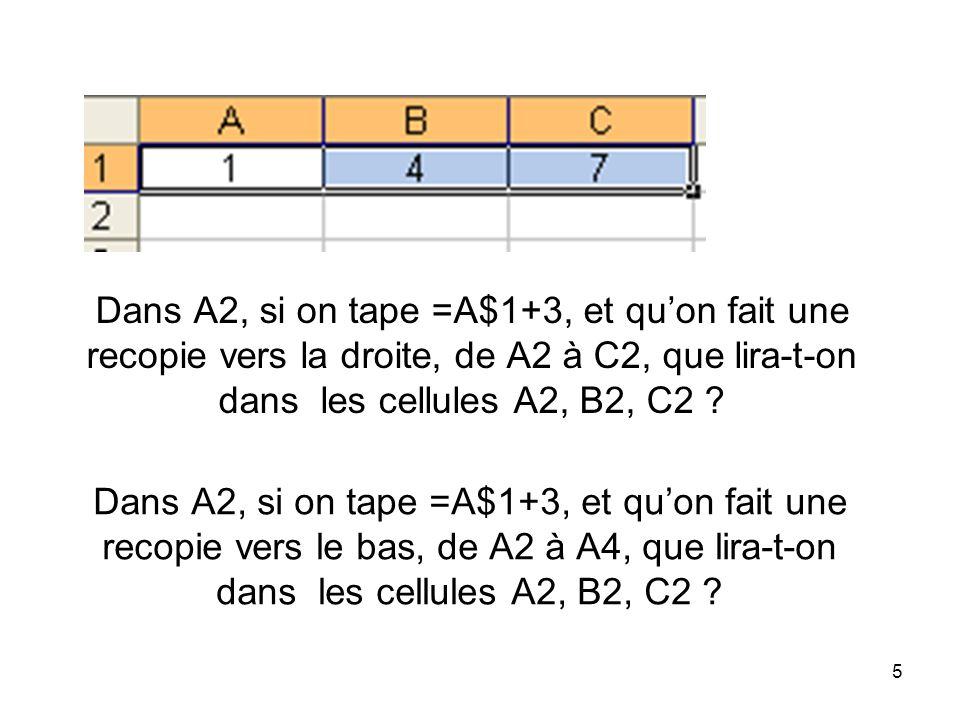 Dans A2, si on tape =A$1+3, et qu'on fait une recopie vers la droite, de A2 à C2, que lira-t-on dans les cellules A2, B2, C2