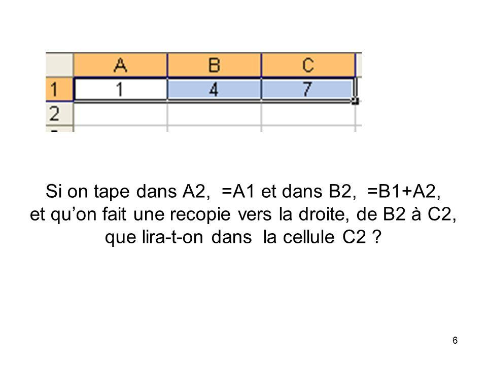 Si on tape dans A2, =A1 et dans B2, =B1+A2, et qu'on fait une recopie vers la droite, de B2 à C2, que lira-t-on dans la cellule C2