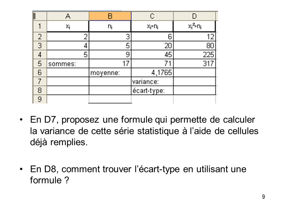 En D7, proposez une formule qui permette de calculer la variance de cette série statistique à l'aide de cellules déjà remplies.