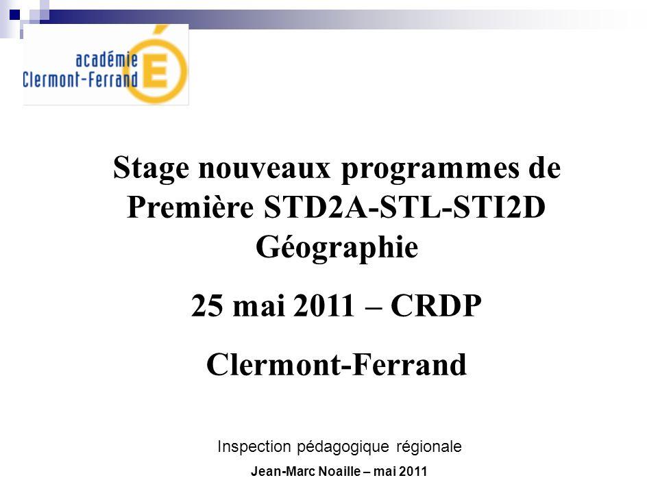 Stage nouveaux programmes de Première STD2A-STL-STI2D Géographie