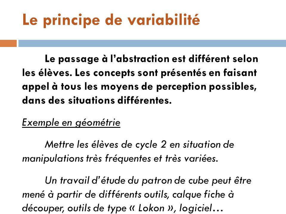 Le principe de variabilité