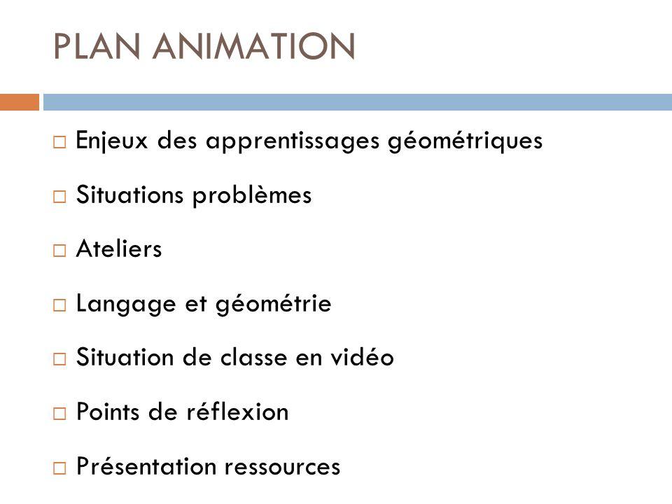 PLAN ANIMATION Enjeux des apprentissages géométriques