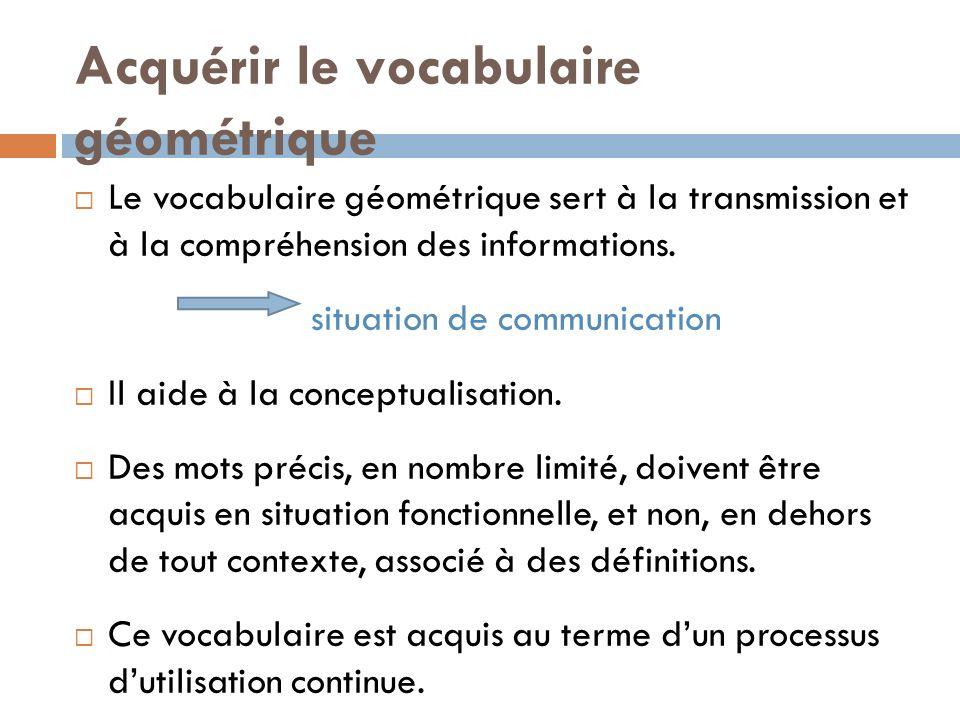 Acquérir le vocabulaire géométrique