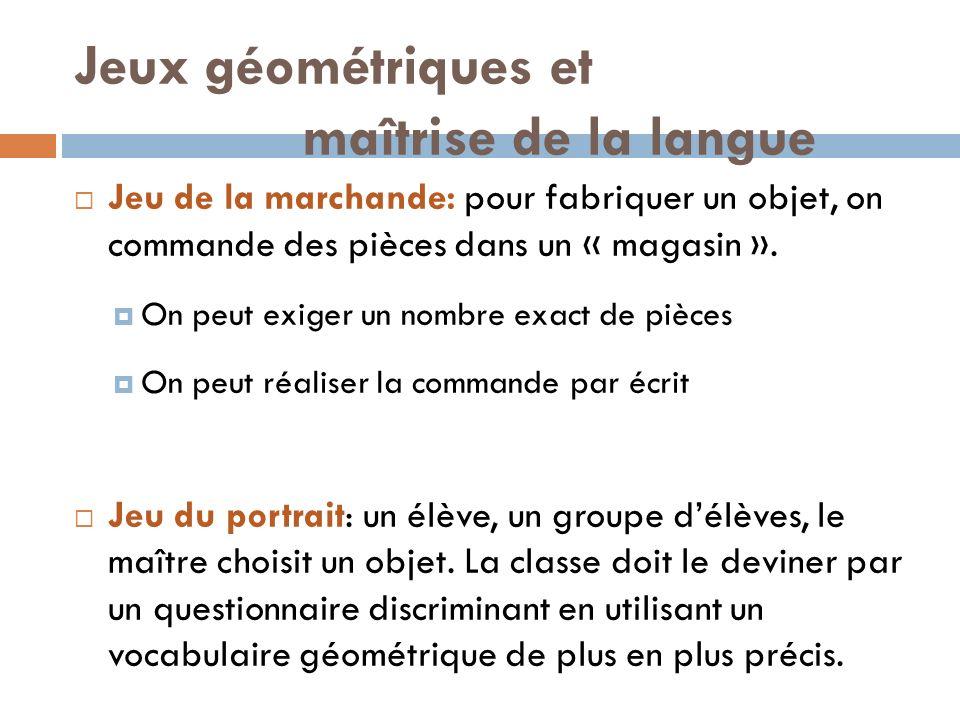Jeux géométriques et maîtrise de la langue