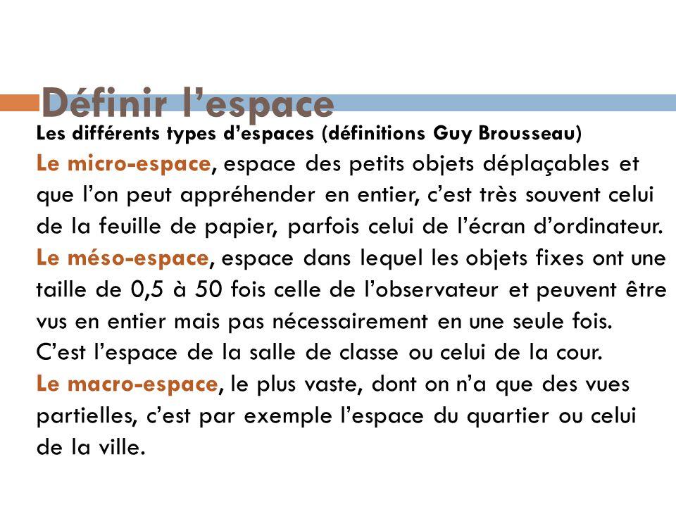 Définir l'espaceLes différents types d'espaces (définitions Guy Brousseau)