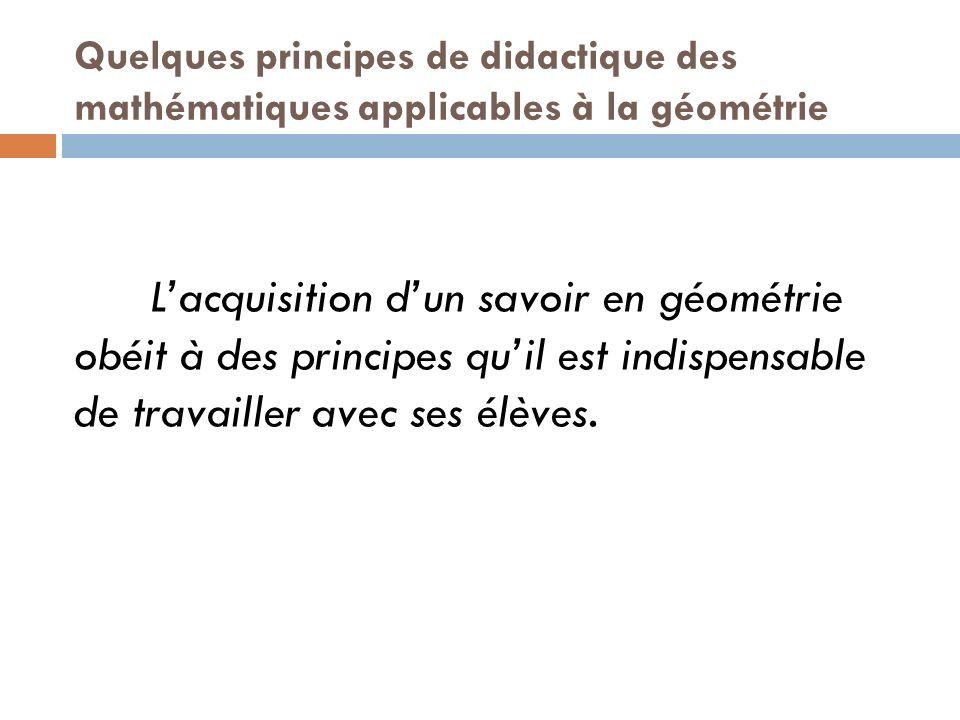 Quelques principes de didactique des mathématiques applicables à la géométrie