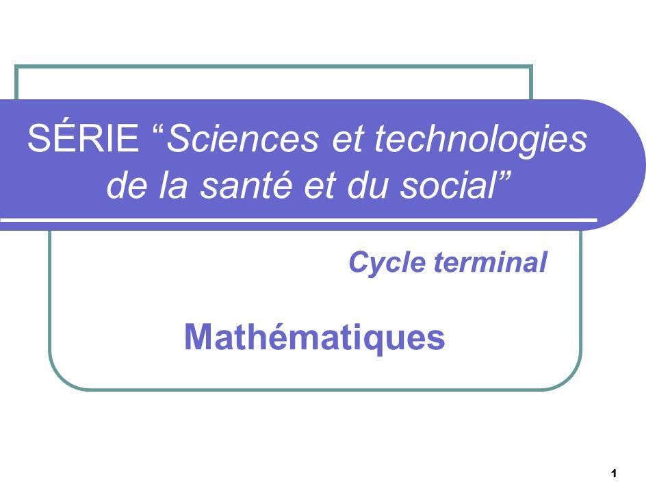 SÉRIE Sciences et technologies de la santé et du social