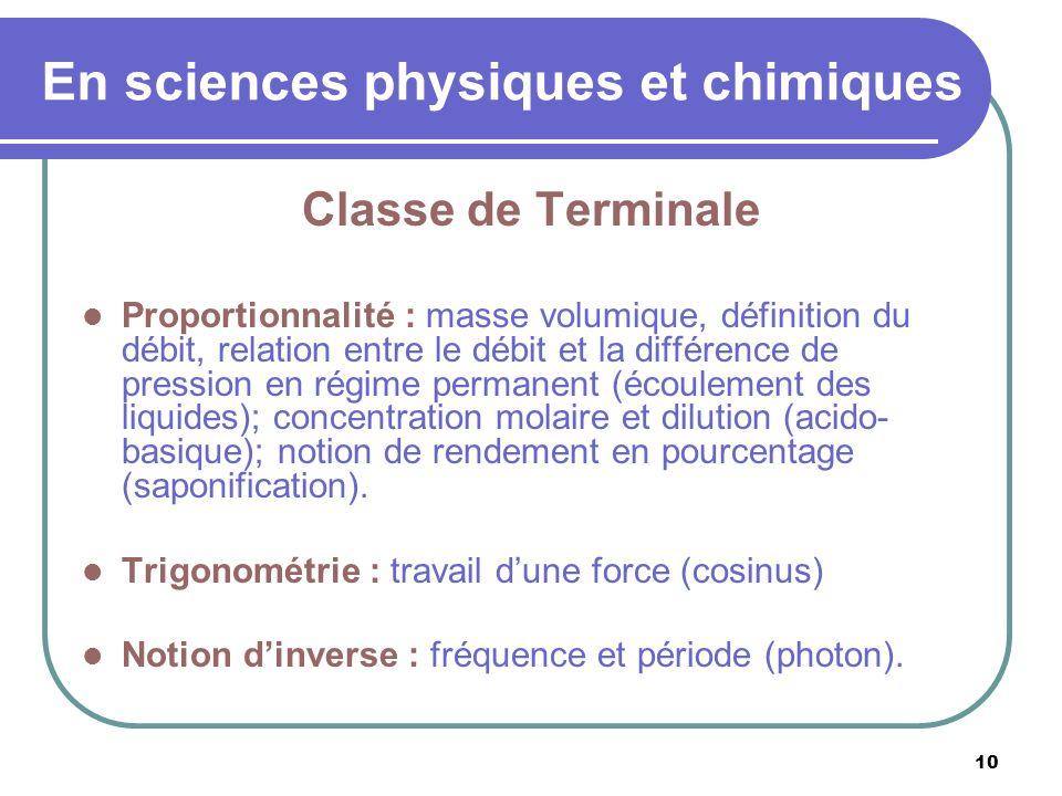 En sciences physiques et chimiques